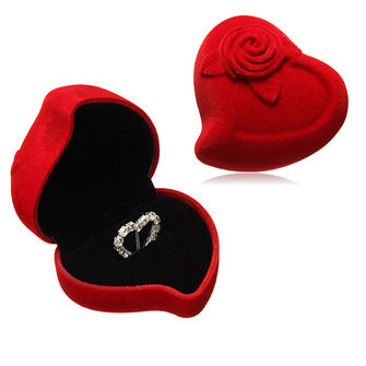 Bride Groom Red Velvet Heart Flower Rose Double Wedding Ring Box